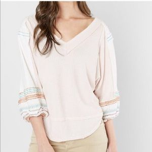 Free People VNeck Thermal Embroidered Balloon